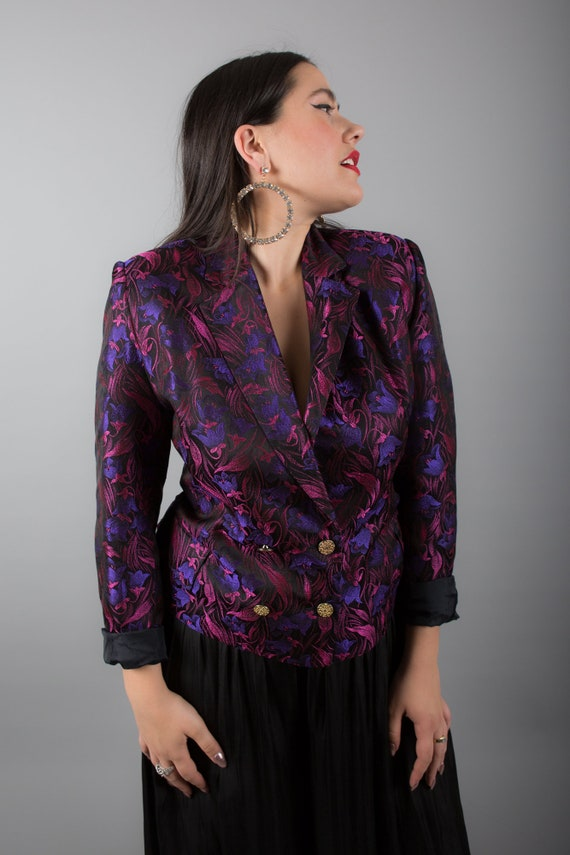 STUNNING Pink & Purple 90s Brocade Blazer - image 4