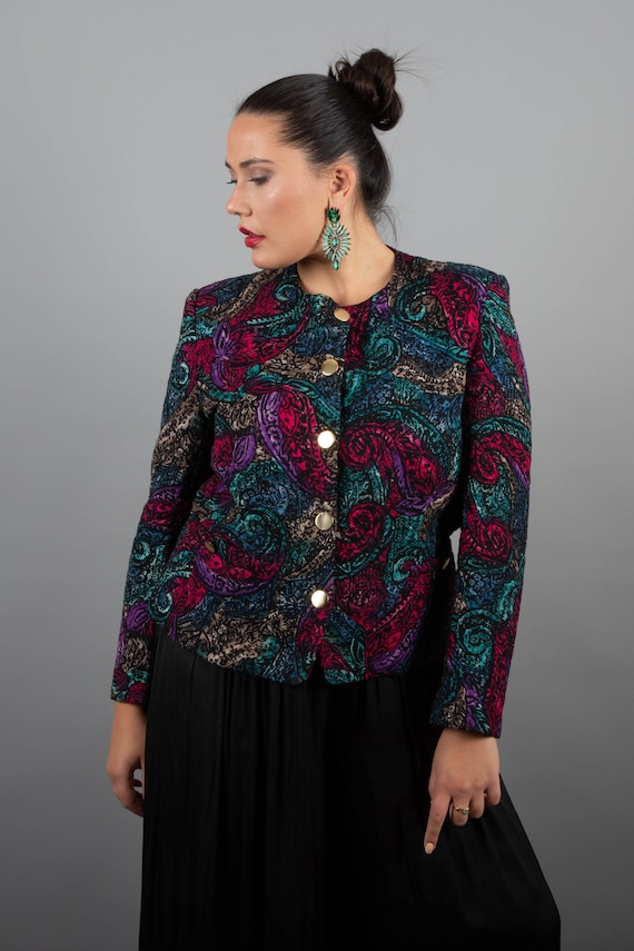 Gorgeous 1980s Multi Coloured Paisley Quilted Jack