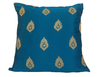 Teal Pillow Cover/ Teal & Gold Pillow/ Teal Throw Pillow/ Decorative Pillow/ Festive Pillow/ Teal Home Decor/ Accent Pillows/ Pillow Cover