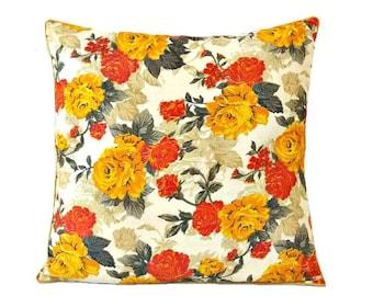 Yellow & Orange Pillows/ Floral Pillow/ Yellow Pillow Cover/ Floral Pillow Cover/ Decorative pillows/ floral throw pillows/ Floral Cushion