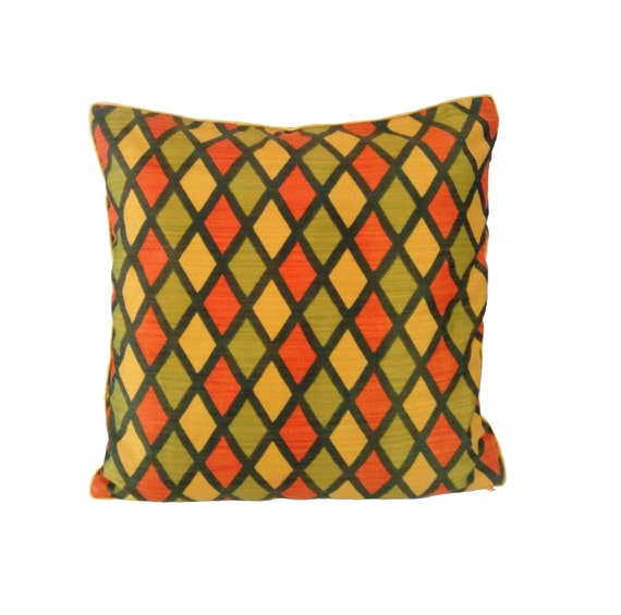 Yellow Green Orange Pillow Cover Geometric Print Pillow Etsy Enchanting Bright Orange Decorative Pillows