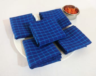 SET OF 5 Blue Checks Table Napkins/ Cotton Table Napkins/ Blue Dinner Napkins/ Reusable Cloth Napkins/ Eco friendly Dinner Napkins/ Napkins