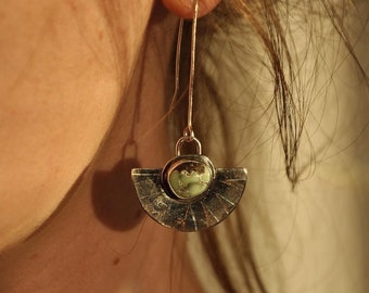 Poseidon variscite eclipse earrings
