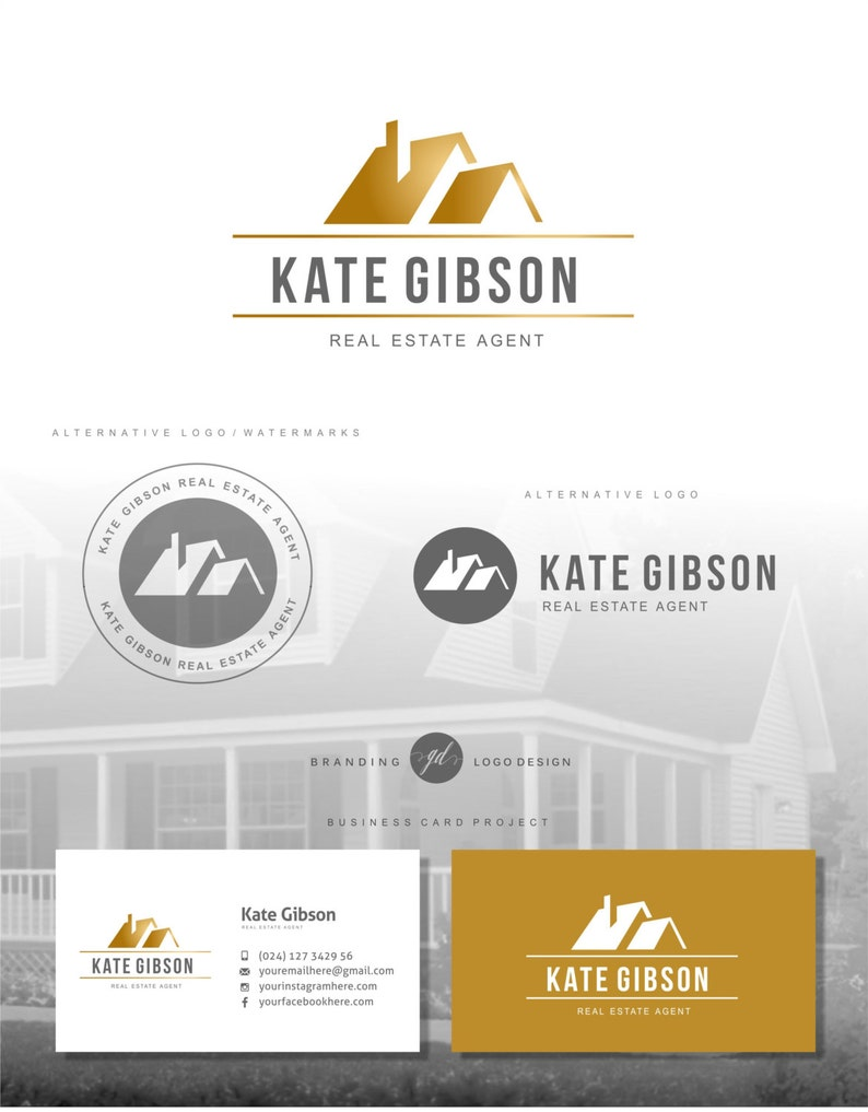 Immobilier Logo Creation De Agent Carte Visite