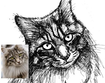 Custom pet portrait, animal ink portrait, cat dog ink art