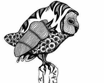 Barn Owl. Original Dawings & Prints,  Balck and White  Bird Art, Animal Drawing, Zen Dot Nursery Abstract Wall Art, Tyto alba Illustration