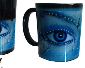Blue Face Lady Colour Change Mug