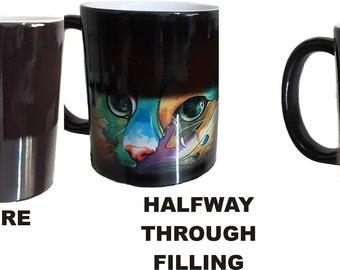 Rainbow Cat Image Black Colour Change Mug