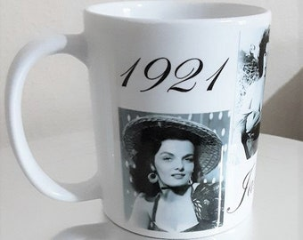 Jane Russell White Ceramic Mug No:2 Gift Shop Film Stars of Yesteryear Personalised Gifts