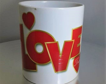 Personalised Love Heart Handle 'Love' Mug Valentine's Gift