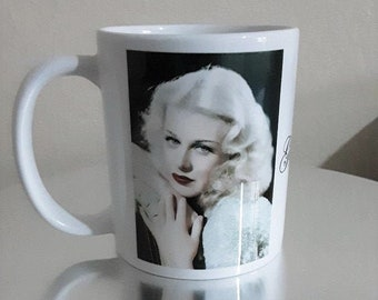 Ginger Rogers White Ceramic Mug Gift Shop Film Stars of Yesteryear Personalised Gifts