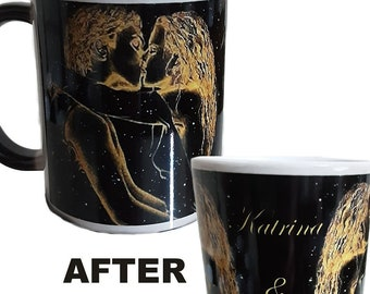 Personalised Black Colour Change Mug Personalised Mug Kissing Couple