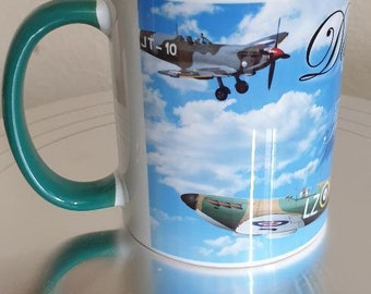 Personalised The Spitfire Mug Green Handle & Rim
