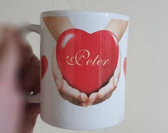Personalised Love Heart in Hands Mug Personalised Gifts Coffee Mug