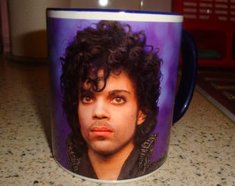 King of Pop Prince Mug Design 1 Blue Handle & Rim