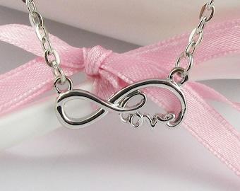Love Infinity Charm Pendant Necklace 48cm