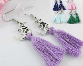 Cotton Tassel Meditation Aum Charm Hook Earrings 65mm Select Colour