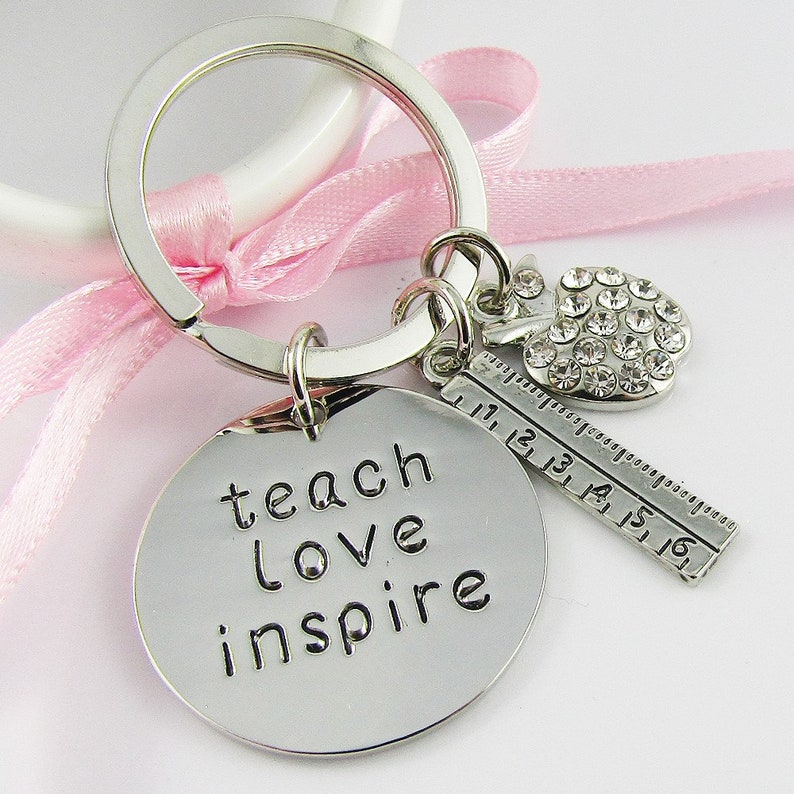 Favourite teacher charm european bead keyring.