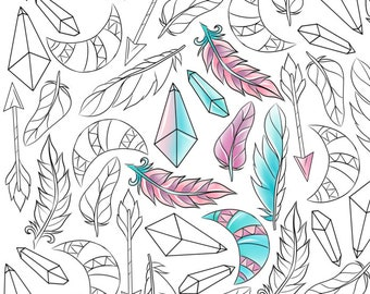 Adult coloring page, boho coloring page, feathers coloring page, ethnic coloring, nature coloring, instant download, printable coloring page