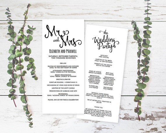 wedding program pdf wedding program format template diy etsy