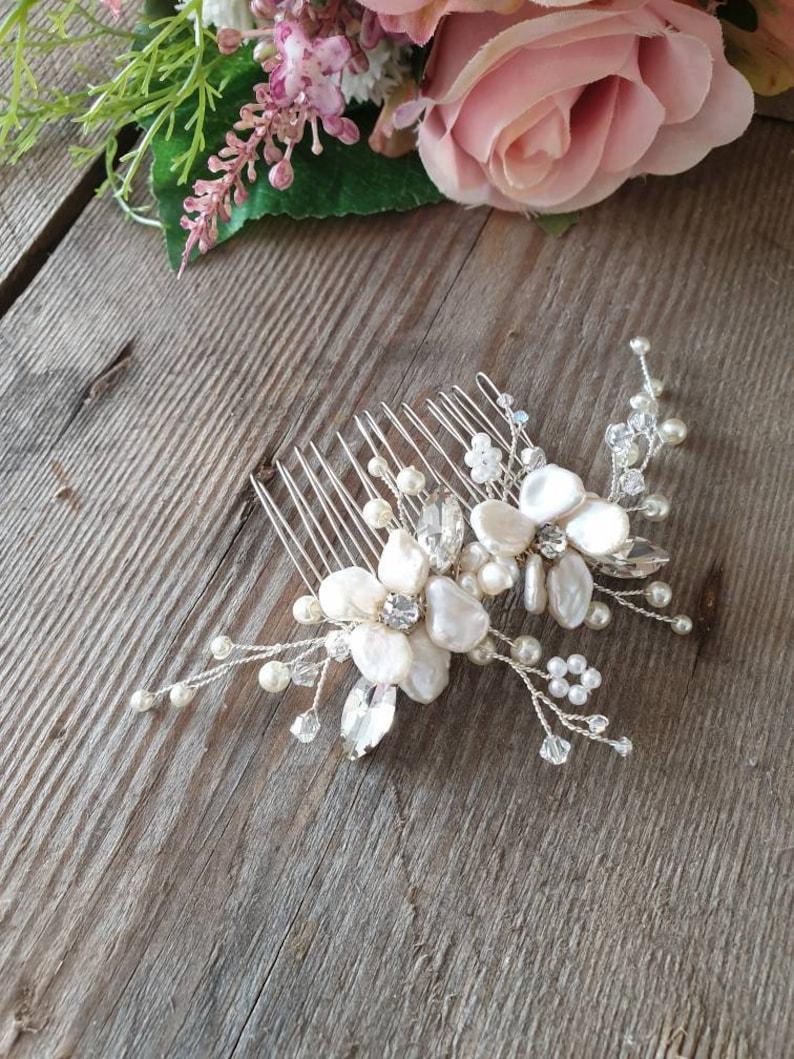Keshi Pearls Wedding Hair Accessories Hair Flowers Sparkle Hair Comb Pearl Hair Comb Bridal Hair Accessory