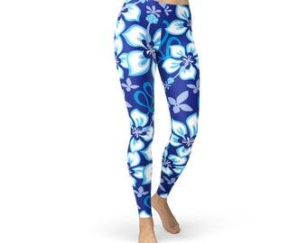 c6e3ee2f0c781 Blue Hawaiian Hibiscus Surf Leggings - Hawaiian Print Leggings, Hawaii  Activewear, Hawaiian Print Yoga Pants, Hawaiian Athletic Wear