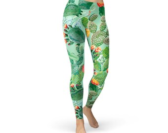 Cactus Leggings For Women Womens Green Yoga Pants w Cactus and Succulent Print