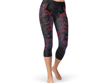 79b2f5cb5c7fec Black Wolf Capris For Women - Printed Black Capri Leggings With Grey Wolf  Illustration On Both Sides Of Capri Pants, Perfect Yoga Wear Gift