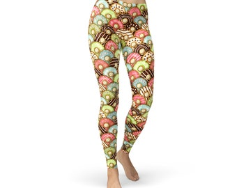 1a90c166cf8 Colorful Donuts Leggings For Women - Womens Yoga Leggings All Over Print  Doughnuts Non See Through Squat Proof For Yoga