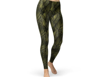 3625ddb1c07e3e Dark Green Leaf Leggings - Winter Foliage, Winter Yoga Pants, Leaves  Leggings, Leaf Leggings, Leaf Pattern Leggings, Winter Printed Leggings