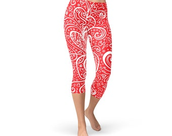 ded59adb8a183 Heart Capri Leggings For Women - Womens Red Capri Leggings w/ All Over  Print Love Hearts For Valentines Day Non See Through Squat Approved
