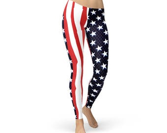 1e0cd5adeaa4 Fourth of July Leggings - USA Flag Leggings