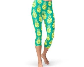 649b84c0eeb0c0 Green Pineapple Capri Leggings - Pineapple Workout Capris, Pineapple Yoga  Capris, Pineapple Print Yoga Pants, Pineapple Women Pants