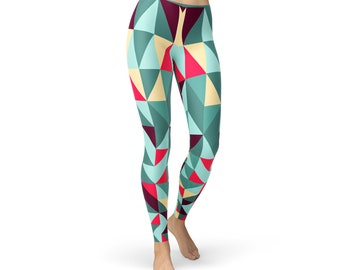 8644878f41311 Geometric Leggings For Women - Womens Colorful Patterned Printed Workout  Leggings   Non See Through   Squat Proof Yoga Pants or Gym Leggings