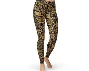 778b1811aa38f Sugar Skull Leggings For Women - Black Leggings w/ Skull Print, Perfect Cat  Leggings For Yoga Wear, Great Gift For The Crazy Cat Lady