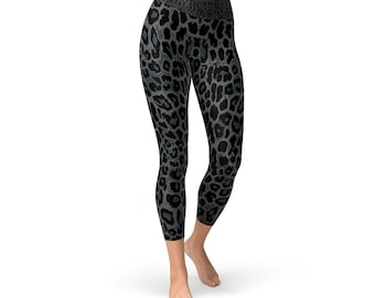 cc8a0564ab7f Black Panther / Leopard Yoga Capri Leggings For Women High Waistband Mid  Calf Length Printed Workout Pants Non See Through Squat Approved