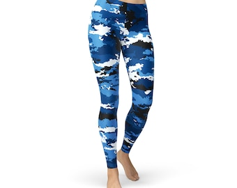 49a8cd2caeb6e8 Womens Blue Camo Leggings - Printed Army   Military Camouflage Pattern  Design on Workout Yoga Pants Perfect for Crossfit