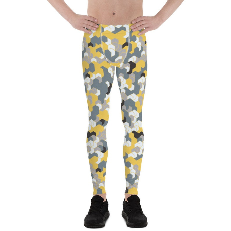 fae675295da Mens Leggings Meggings All Over Print Yellow and Gray | Etsy