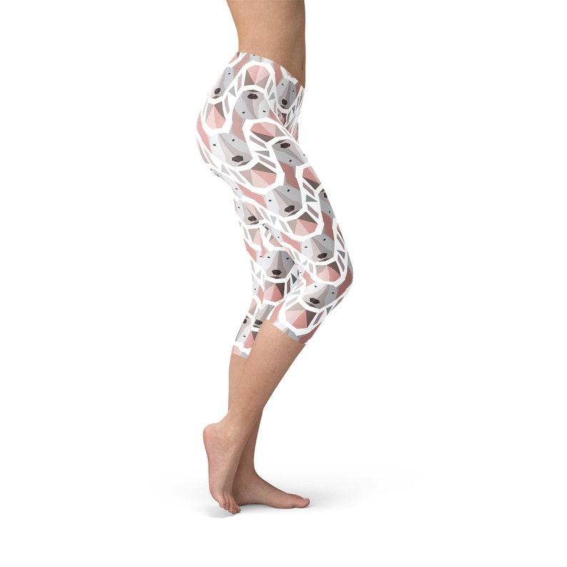Dog Print Capris Bullterrier Dog Capris Bull Terrier Capri Leggings Dog Capris Pattern Womens Dog Capris Dog Print Yoga Pants