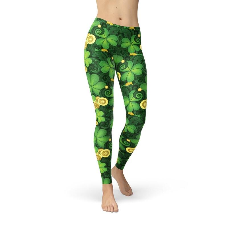 1aee4f6298e3f0 Four Leaf Clover Leggings Shamrock Leggings Green Leggings | Etsy