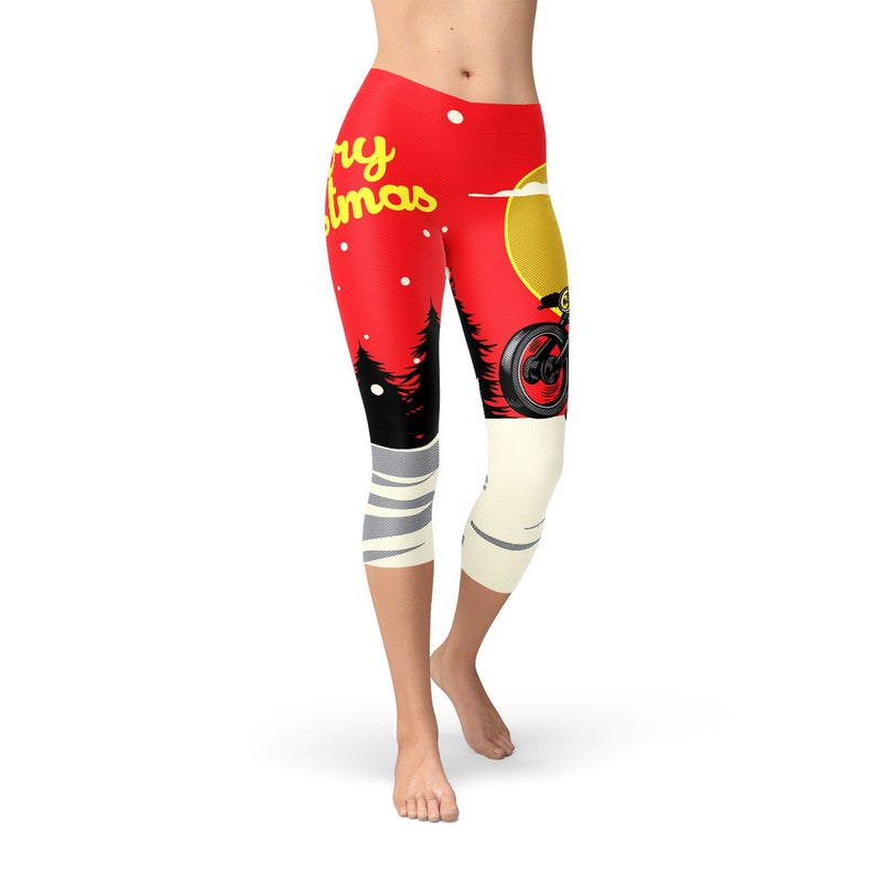 1cf1b24157558 Santa Claus On Motorbike Printed Leggings Perfect Capri | Etsy