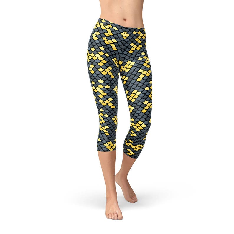 9a8a5e2c9f6ab Black Mermaid Capris For Women Black Capri Leggings With All | Etsy