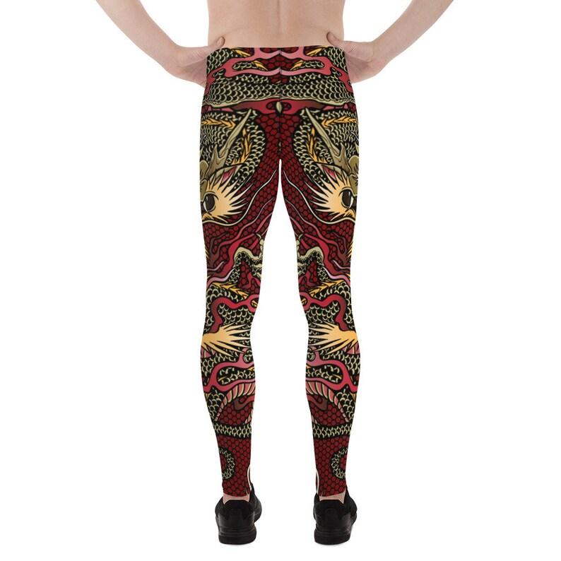 Meggings MMA Judo Chinese Dragon Print in a Dragon Tattoo Style Dragon Leggings For Men Mens Leggings Crossfit Perfect For BJJ
