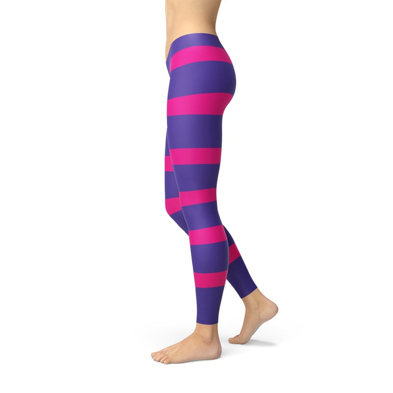 Inspired Cheshire Cat Leggings w Pink Purple Printed Stripes Perfect Cosplay Costume Leggings Pink and Purple Striped Leggings For Women