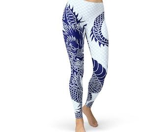 Dragon Print Leggings - Dragon Tattoo Leggings, Dragon Scale Leggings, Dragon Yoga Pants, Dragon Yoga Leggings, Dragon Sports Leggings