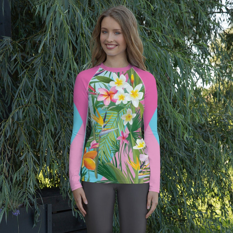 Perfect Sun Protection Swim Shirt Frangipani Hibiscus Womens Rash Guard Heliconia Flowers Bird of Paradise Hawaii Print With Plumeria