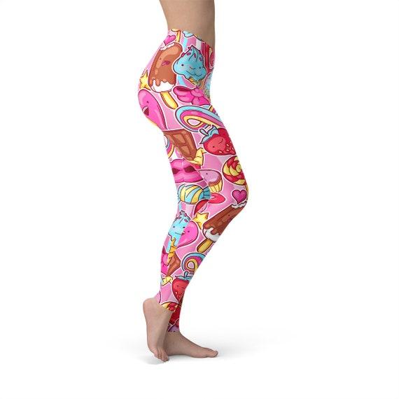 Capri Length Kawaii Icecream Sport Leggings Mid//High Waist Pink