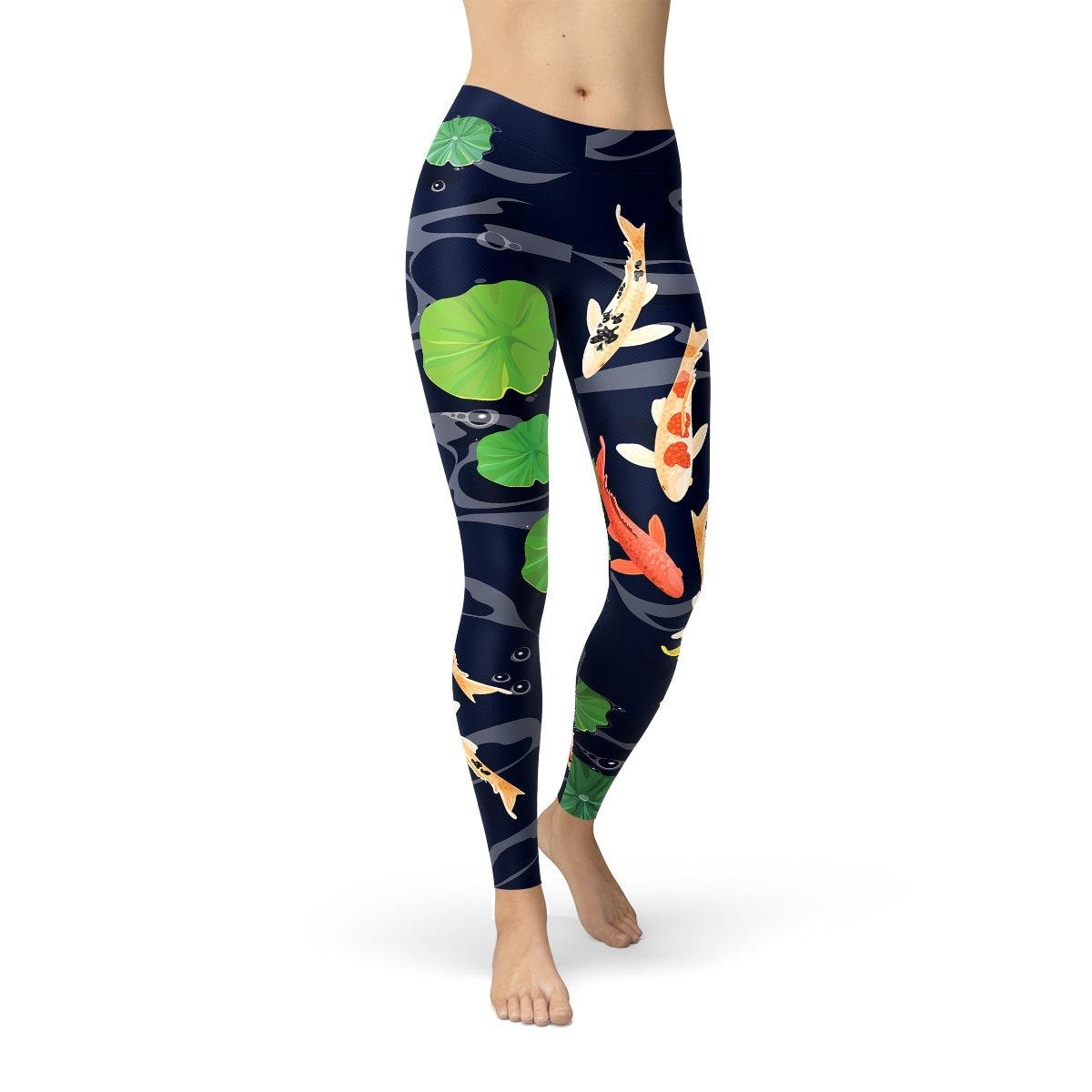 bc4df457d1bf2 Koi Fish Yoga Pants Under Water Carp Fish Yoga Pants Koi