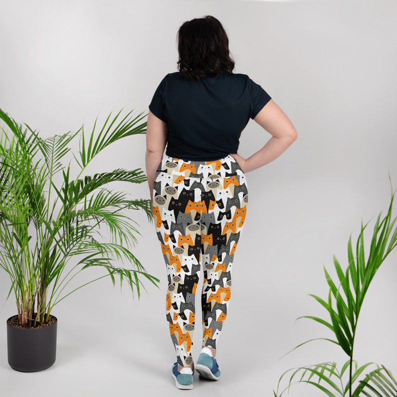 Cat Leggings For Women Plus Size High Waisted Yoga Pants w All Over Print Cute Cats Non See Through Perfect Gift For The Crazy Cat Lady