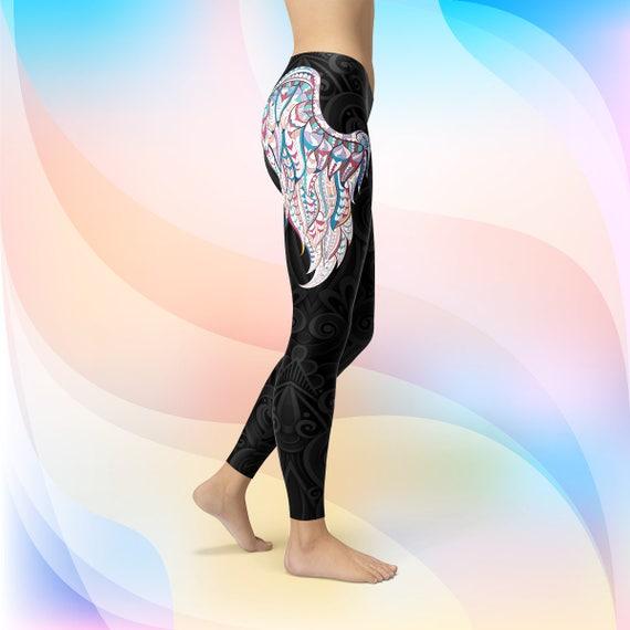 Women Wings Print on Angel Black Black Pants Tights Legging Colorful Wings Angle Yoga Pattern Print Tights Wings Leggings Black Black wtpwxBq